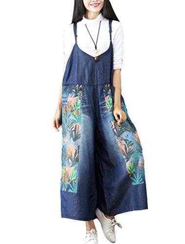 Mordenmiss Women's Baggy Bib Overalls Denim Cotton Harem Wide Leg Jumpsuits Style 29 ()