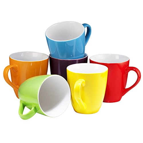 - Coffee Mug Set Set of 6 Large-sized 16 Ounce Ceramic Coffee Mugs Restaurant Coffee Mugs By Bruntmor (Multi-Color)