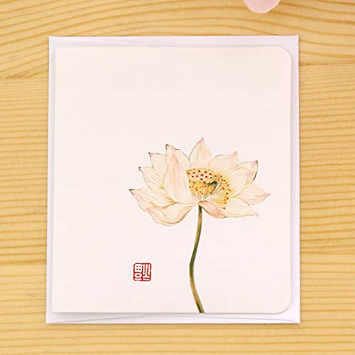 PyLios - Creative Simple Classical Chinese Style Folding Card Christmas New Year Blessing Universal Greeting Card [ Lotus ]