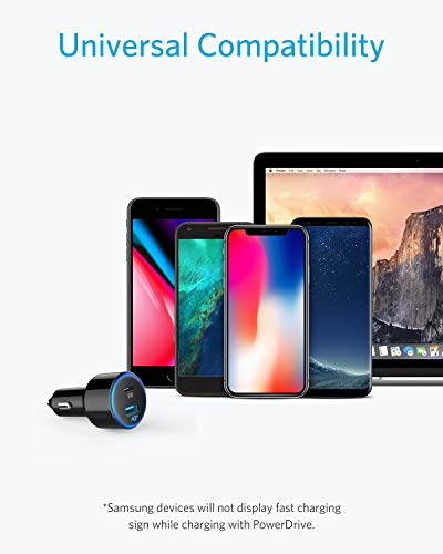 Samsung Galaxy Note9//Note8//S9//S9+,Pixel 2 XL,Nexus iPad Pro//Air 2//Mini iPhone Xs//Max//XR//X//8 LinkOn Car Charger 63W USB C PD Power Delivery 3.0 and USB A Quick Charge 3.0 for MacBook Pro,Chromebook