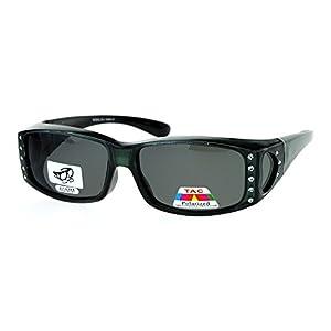 Womens Polarized Fit Over Glasses Sunglasses Rhinestone Rectangular Frame Gray