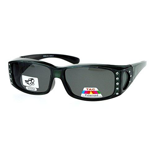 (Womens Polarized Fit Over Glasses Sunglasses Rhinestone Rectangular Frame Gray)