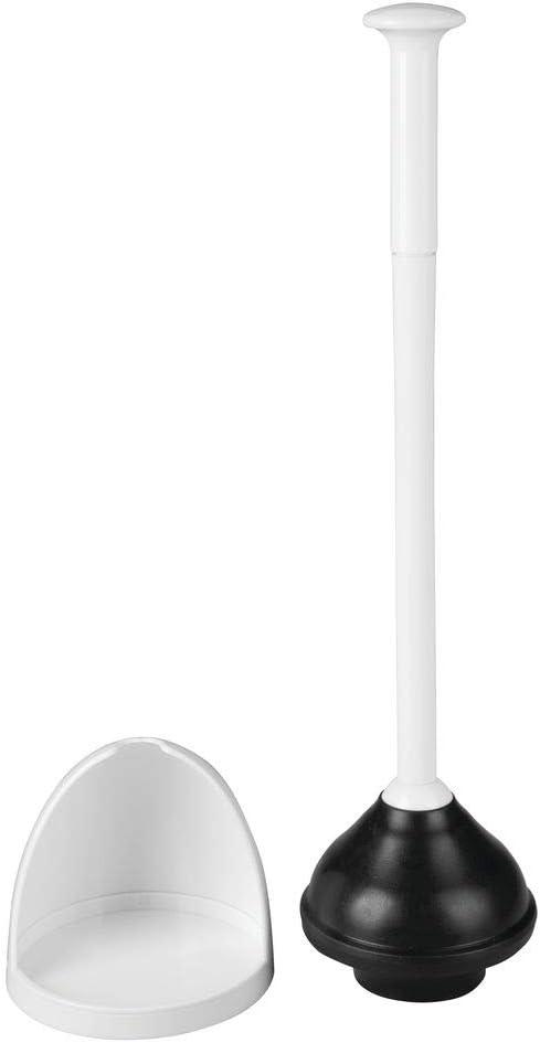 Sleek Modern Design Cream//Beige Compact Discreet Freestanding Bathroom Storage Organization Caddy with Base mDesign Plastic Toilet Bowl Plunger Set Heavy Duty with Drip Tray