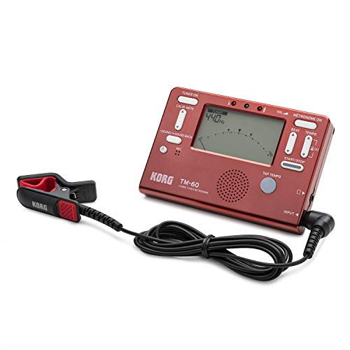 Korg TM-60 Tuner and Metronome Combo with Clip on Microphone (Red)