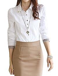 Women's Elegant Rivets Collar Button Up Blouse Shirt Uniform Top M White