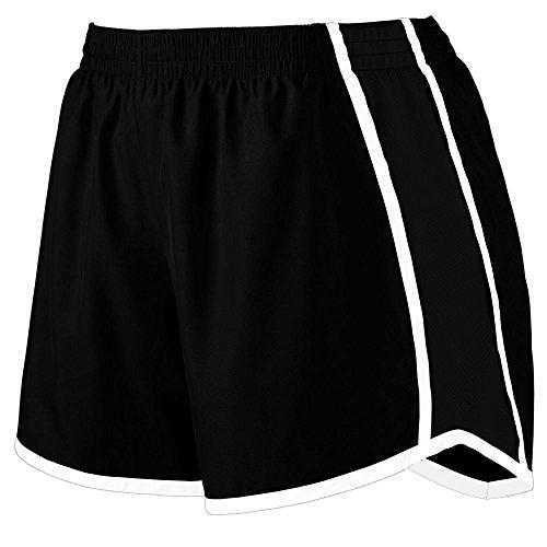 Womens Team Short (Augusta Sportswear Womens Junior Fit Pulse Team Short, Black/Black/White, Large)