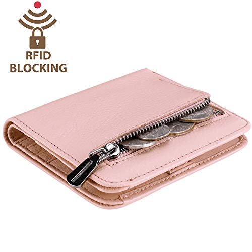 Itslife Women's Rfid Blocking Small Compact Bifold Leather Pocket Wallet Ladies Mini Purse with id Window (Natural Light Pink)