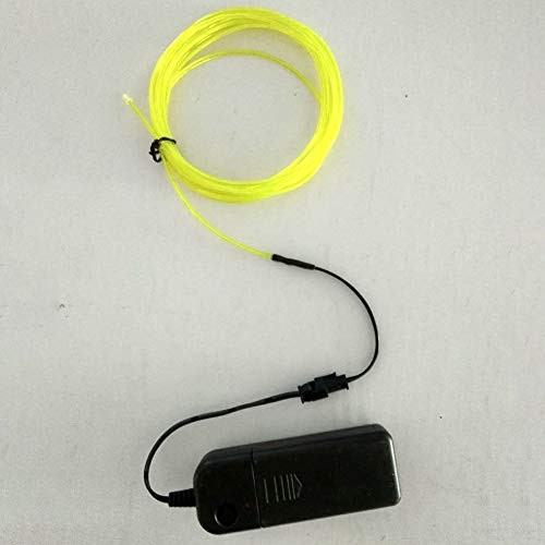 URMAGIC Glow EL Wire with Battery Pack 9.84ft/3M Cable LED Neon Christmas Dance Party DIY Costumes Clothing Luminous Car Light Ball Decoration 360 Degrees of Illumination for Party Decoration(Yellow)]()
