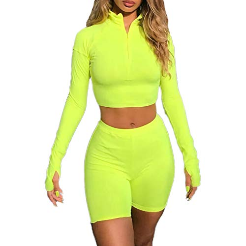 ALERDON Front Zipper Long Sleeve Skinny Crop Top Shorts Two Piece Set Tracksuit (Small, Green)