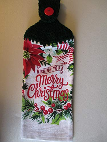 Crocheted Wishing you a Merry Christmas Kitchen Towel with Dark Green Yarn