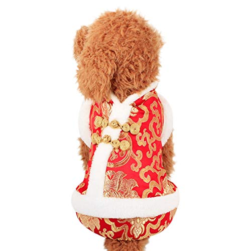 Patgoal Pet Dog Happy New Year Four Legs Suit Chinese Style Clothing Novelty Funny Festival Costume for Autumn -