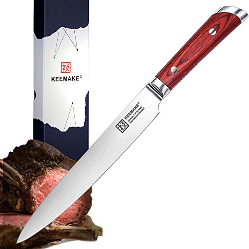 KEEMAKE Slicing Carving Knife, 8-inch, German 1.4116 High Carbon Stainless Steel, Full Tang Riveted Pakkawood Handle, Professional Kitchen Knife for Chefs and Home Cooking
