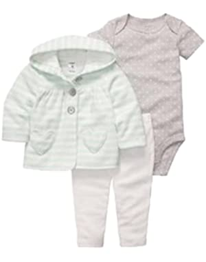Carters Infant Girls 3 Piece White Gray Pants Creeper Green Striped Hoodie