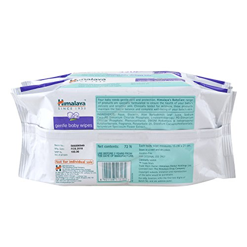 Himalaya gentle Baby Wipes (72 Wipes, Pack of 2)