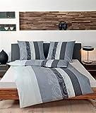 JANINE 31015-08 Mako Satin Bed Linen 2-Piece Duvet Cover 135 x 200 cm and Pillowcase 80 x 80 cm Palermo Stripes Grey