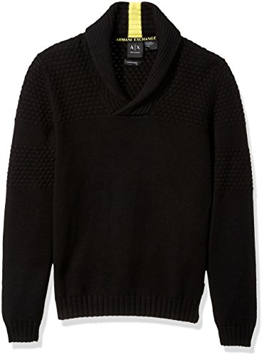 A|X Armani Exchange Men's Textured Knit Shawl Collar Sweater, Black, Medium by A|X Armani Exchange
