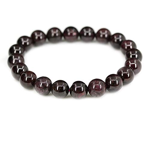 "Amandastone Natural A Grade Red Garnet Genuine Semi-Precious Gemstones Healing 10mm Beaded Stretch Bracelet 7"" Unisex"