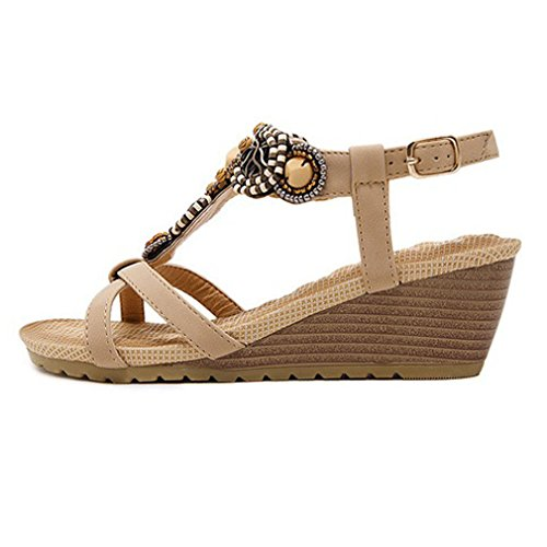 Ethnic Wedge New Albicocca Heel da Donna Sandals Scarpe Xianshu Sandals Bohemian Beaded Comode Buckle O5YnqH0Hwd