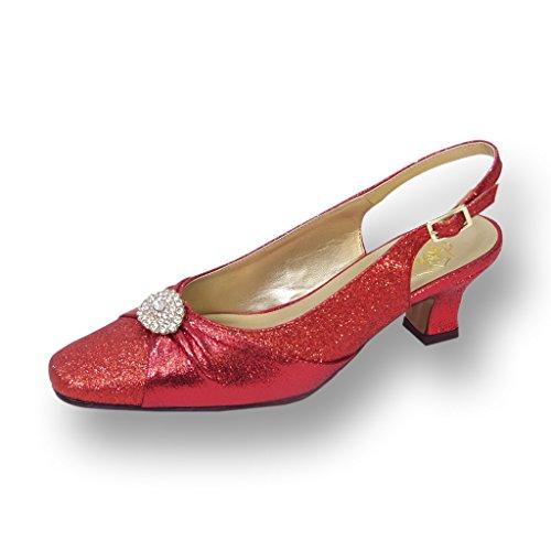 Fic Blommor Elaine Kvinnor Bred Bredd Klänning Sko För Bröllop, Bal Och Middag (storlek / Mätningen Kartlägger) Röd