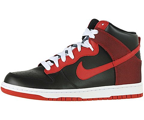 NIKE Dunk High Womens Fashion Sneakers (12, Black/Varsity Red)
