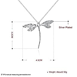 Adecco LLC new Jewelry Fashion 925 silver dragonfly necklace pendant 20 inch chain