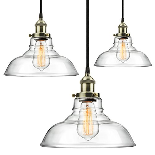 3-Pack Pendant Light Hanging Glass Ceiling Mounted