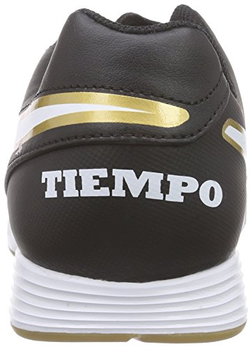 Nike Tiempo Genio II Leather IC, Chaussures de Football Homme, Noir (Black/White-Metallic Gold), 47.5 EU