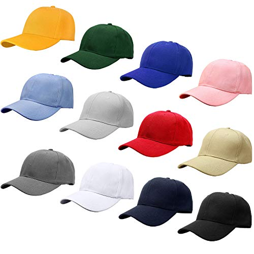 - Falari Wholesale 12-Pack Baseball Cap Adjustable Size Plain Blank Solid Color (Assorted Color Group 1)