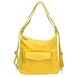AMBRA Moda italien sac à dos pour femmes, sac à dos de ville en cuir véritable, 2 en 1 sac à dos décontracté, sac épaule…