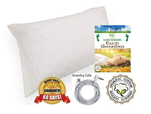 Earthing Grounding Organic Cotton, Silver Conductive Pillow Case. Fits QUEEN size pillows 20 x 30. RF/EMF protection, Better Sleep, Less Pain and Inflammation. Comes with grounding cord