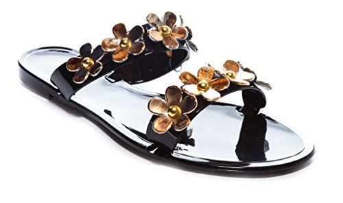 Sale Soft Jelly Sandals (Bamboo Women's Jelly Flat Slide Sandal with Flowers Emblems in Black Size: 7)