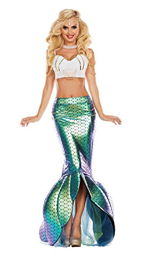 (Party King Women's Under The Sea Mermaid Costume, Turquoise/White, Small)