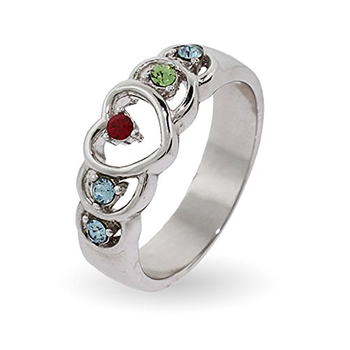 5 Simulated Stone Sterling Silver Heart Mother's Ring with Custom