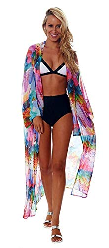 Women's Summer Floral Flowy Cardigan Long Bikini Kimono Cover Up Open Front Sheer Tops ()