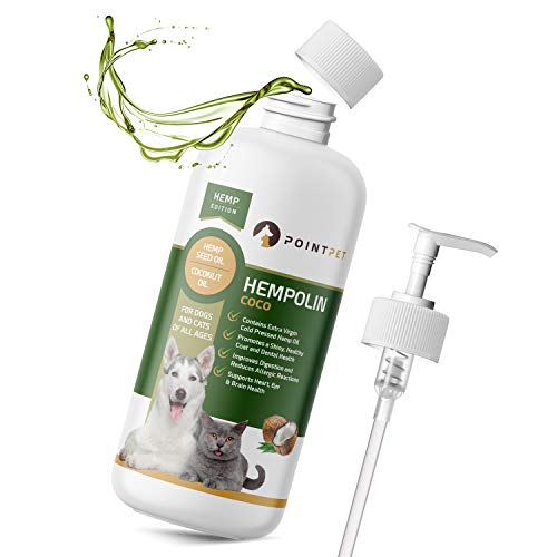 POINTPET Hempolin Coco Coconut and Pet Hemp Oil for Dogs and Cats, Cold Pressed Extra Virgin Non-GMO Support, Highest EPA and DHA Potency for Healthy, Shiny Coats
