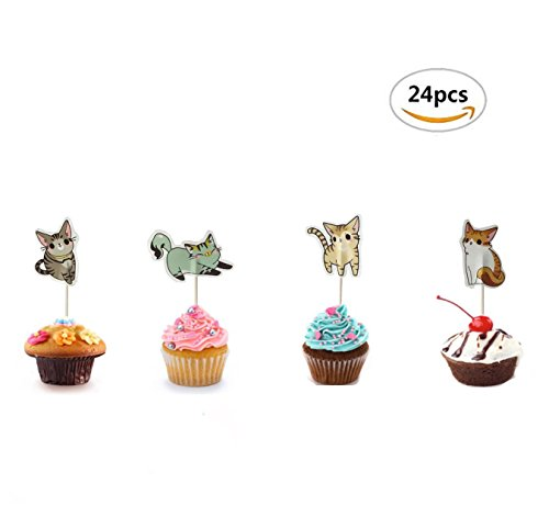 Maydolbone 24pcs Cute Cat Cake Cupcake Toppers- birthday or baby shower Food Picks Decor And Cupcake Party Pick