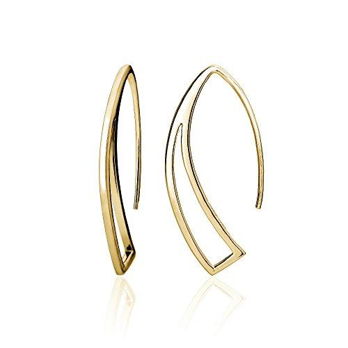 10k Gold Circle Hoop Earrings (Hoops & Loops Yellow Gold Flash Sterling Silver Geometric Polished Hook)
