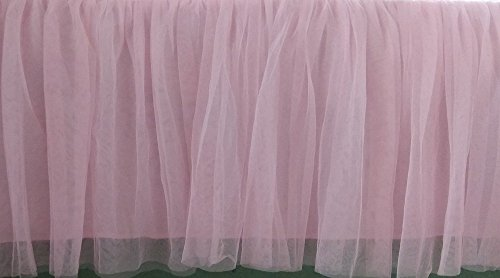 Oval Crib Set - Pink Tullu Ruffled Lined Crib Skirt 16 Inch Drop 3 Sided