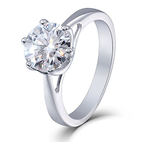 (DovEggs 2ct 8MM HI Round Moissanite Simulated Diamond Engagement Ring in Sterling Silver for Women By Transgems (platinum-plated-silver, 4))
