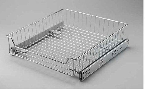 Pull out , soft close Wire basket kitchen cuboard storage system 400mm by Wire basket pull out L400 silver 400 Mm Basket