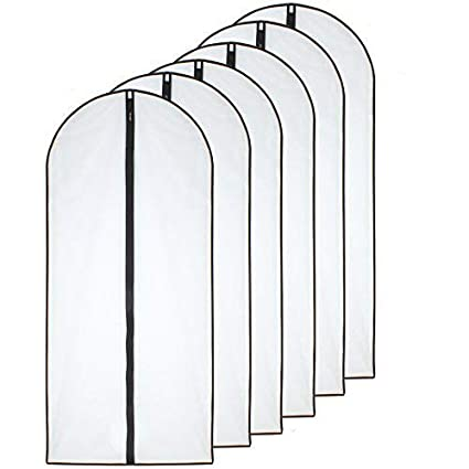Moth Proof Garment Bags 24 x 40 Pack of 6 Black Side Breathable Clear Full Zipper Bags for Clothes Storage