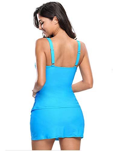 À Femmes Haute Volants Unie Été Sexy Pour Taille Deux Pièces Avec Bikini Cordes Bleu Tankini Couleur kOPZXui