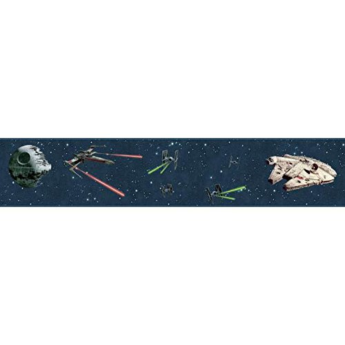York Wallcoverings Disney Kids III Star Wars Classic Ships Border, Blues (Star Border Wars Wallpaper)