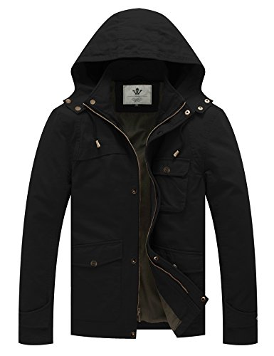 WenVen Men's Hooded Cotton Windbreaker Jacket(Black, XL) ()