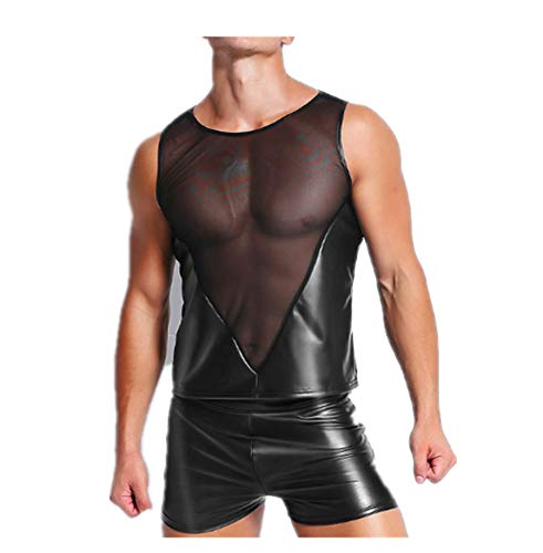Harness Patent Leather - primerry Black Patent Leather mesh Stitching Tops Fitness Man (M)