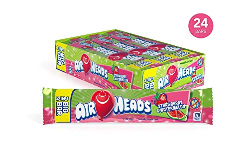 AirHeads Candy 2-in-1 Big Bar, Strawberry and Watermelon, Non Melting, 1.50 Ounce (Pack of -