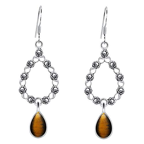 (Yellow Tiger Eye Stone Earring By Orchid Jewelry: Hypoallergenic Dangle Earrings For Sensitive Ears, Nickel Free Wedding Earrings, Sterling Silver Bridal Dangling Earring Set (4.5 Ctw))