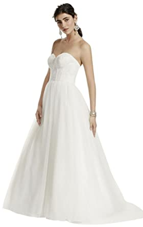 David\'s Bridal Strapless Wedding Dress with Lace Corset Bodice Style ...