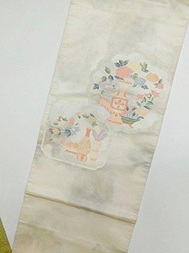 小切手湿度ブランデー(ノーブランド品)4485 【中古】 六通袋帯 正絹 クリーム色村雲地に壺模様 ランクB