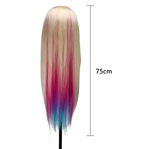 MYSWEETY 29 Inch Colorful Hair Mannequin Head Hairdressing Practice Training Doll Heads Cosmetology Hair Styling Mannequins Heads with Clamp + Practice Tools